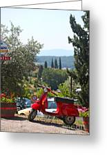 Tuscan Landscape And Scooter Greeting Card