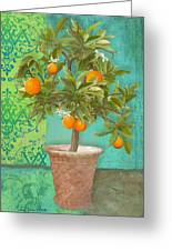 Tuscan Orange Topiary - Damask Pattern 2 Greeting Card