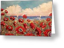 Tuscan Riviera Red Poppies Greeting Card