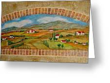 Tuscan Scene Brick Window Greeting Card