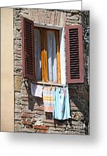 Tuscan Window And Laundry Greeting Card