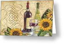 Tuscan Wine And Sunflowers Greeting Card