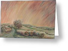 Tuscany Hayfields Greeting Card