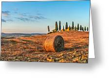 Tuscany Landscape With Farm House At Sunset, Val D'orcia, Italy Greeting Card