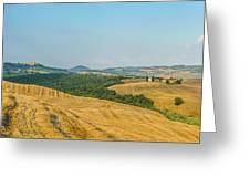 Tuscany Landscape With Rolling Hills At Sunset, Val D'orcia, Ita Greeting Card
