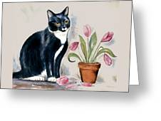 Tuxedo Cat Sitting By The Pink Tulips  Greeting Card