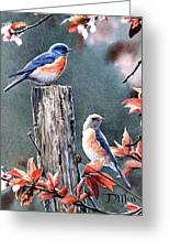Tweeting Greeting Card by Janet Moss