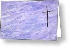 Twig Cross On Purple Greeting Card