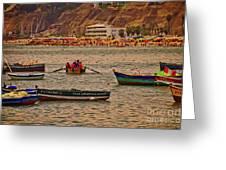 Twilight At The Beach, Miraflores, Peru Greeting Card
