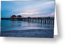 Twilight At The Pier Greeting Card