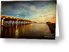 Twilight Biloxi Bridge Greeting Card