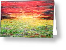 Twilight Bounds Softly Forth On The Wildflowers Greeting Card