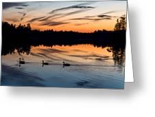 Twilight Lake Swim New Jersey Greeting Card