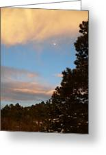 Twilight Moon Over The Hills Greeting Card