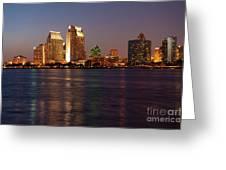 Twilight On San Diego Harbor Greeting Card