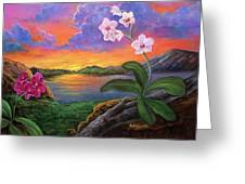 Twilight Orchids Greeting Card