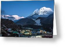 Twilight Over Pangboche In Nepal Greeting Card
