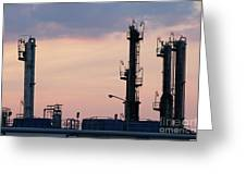 Twilight Over Petrochemical Plant Greeting Card