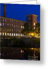 Twilight Over The Cocheco Mills Dover New Hampshire Greeting Card
