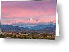 Twilight Panorama Of Sangre De Cristo Mountains And Santa Fe - New Mexico Land Of Enchantment Greeting Card