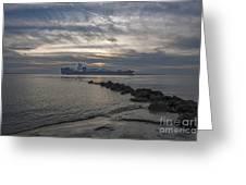 Twilight Steaming Into Charleston Harbor Greeting Card