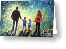 Twilight Walk Family Two Sons Greeting Card