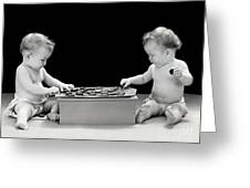 Twin Babies Playing Checkers, C.1930-40s Greeting Card