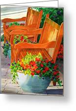 Twin Benches Greeting Card