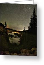 Twin Lakes Night Panorama Greeting Card