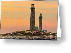 Twin Lights With Morning Glow Greeting Card