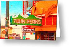 Twin Peaks Gay Bar In San Francisco . Painterly Style Greeting Card