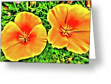 Twin Poppies Greeting Card
