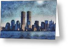 Twin Towers - In Memorium Greeting Card by John Winner