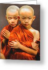 Twins In Orange Greeting Card
