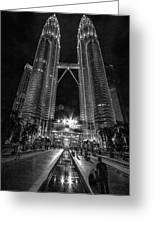 Twintowers At Night Greeting Card