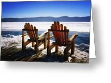 Two Adirondack Chairs  Greeting Card