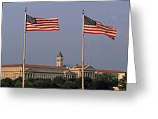 Two American Flags With Old Post Office Building Greeting Card by Sami Sarkis