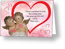 Two Angels And The Heart Greeting Card