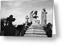 Two Angels Joseph, Jesus And A Bold Cross In A Cemetery Greeting Card
