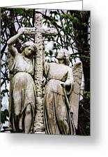 Two Angels With Cross Greeting Card