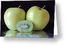 Two Apples And A Kiwi Greeting Card
