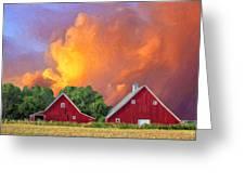 Two Barns At Sunset Greeting Card