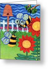 Two Bees With Red Flowers Greeting Card by Genevieve Esson