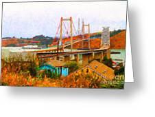 Two Bridges In The Backyard Greeting Card