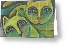 Two Cats  2000 Greeting Card