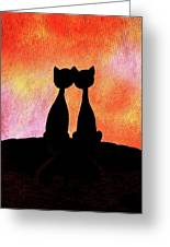 Two Cats And Sunset Silhouette Greeting Card