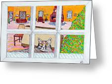 Two Cats In The Window Greeting Card