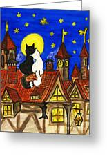 Two Cats On The Roof Greeting Card