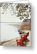 Two Chairs By The Lake's Edge In Autumn Greeting Card