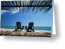 Two Chairs On Deck By Ocean Shaded By Greeting Card